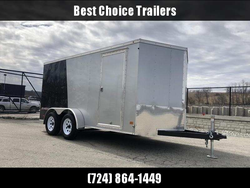 2019 Wells Cargo 7x16' Fastrac Enclosed Cargo Trailer 7000# GVW * BLACK/SILVER * RAMP DOOR * V-NOSE