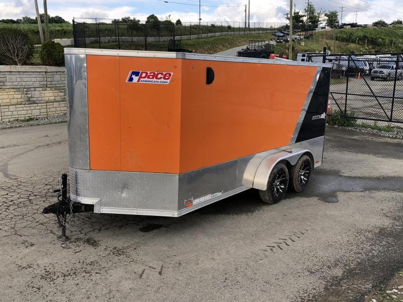 USED 2017 Pace American 7x14 Enclosed Cargo Motorcycle Trailer 7000# * TORSION * 2-TONE * FINISHED WALLS & CEILING * VINYL FLOOR * ATP RAMP * ANODIZED BOTTOM * BEAVERTAIL * TRANSITION PLATE * FLAP EXTENSION * E-TRACK * SCREWLESS