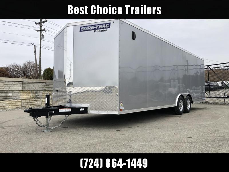 2019 Sure-Trac 8.5x24' 9900# STWCH Commercial Enclosed Cargo Trailer * V-NOSE * RAMP DOOR * SILVER * ALUMINUM WHEELS * 7000# DROP LEG JACK