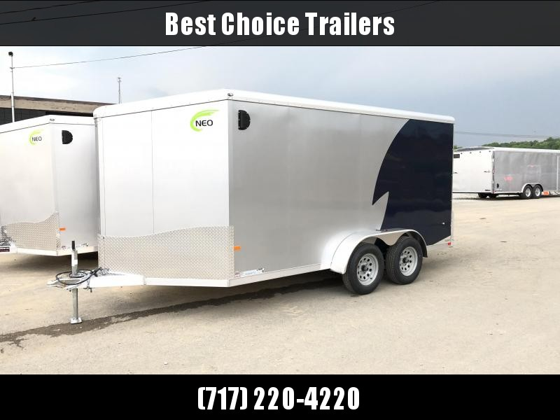 2018 Neo 7x14 NAMR Aluminum Enclosed Motorcycle Trailer * SILVER & INDIGO * WHITE WALLS