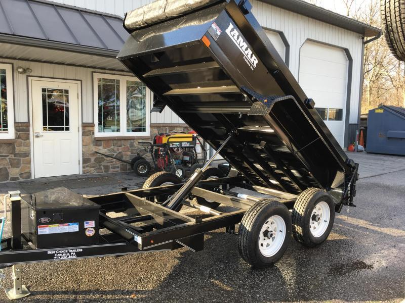 2018 Lamar 5x10 Low Profile Dump Trailer 7000# GVW - SPREADER GATE - GRAY