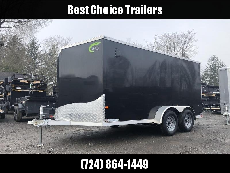 2019 Neo 7x16 NAVF Aluminum Enclosed Cargo Trailer * RAMP DOOR * BLACK * ALUMINUM WHEELS