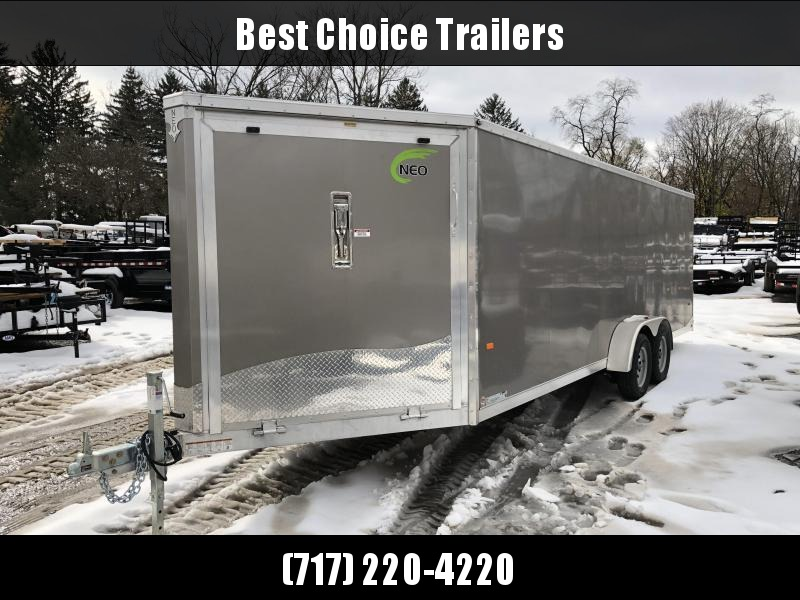 "2019 Neo 7x26' Aluminum Enclosed Snowmobile All-Sport Trailer * 4-PLACE * PEWTER * FRONT RAMP * NXP LATCHES * FLOOR TIE DOWN SYSTEM * REAR JACKSTANDS * UPGRADED 16"" OC FLOOR * UPPER CABINET"