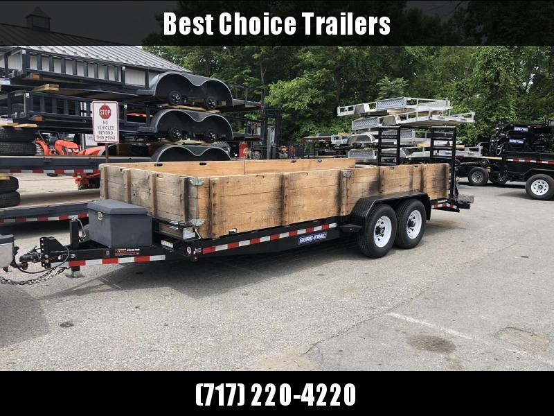 USED 2018 Sure Trac 7x20' 14000# Equipment Trailer * TOOLBOX * WOOD SIDES
