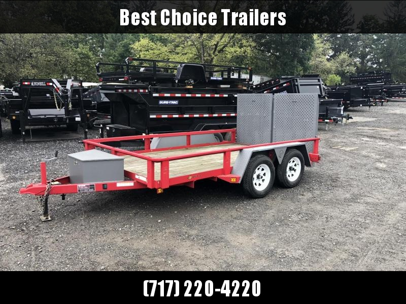 USED 2017 B-Wise 7x12' Utility Landsscape Trailer 7000# * TOOLBOX * SPLIT GATE * 2-TONE
