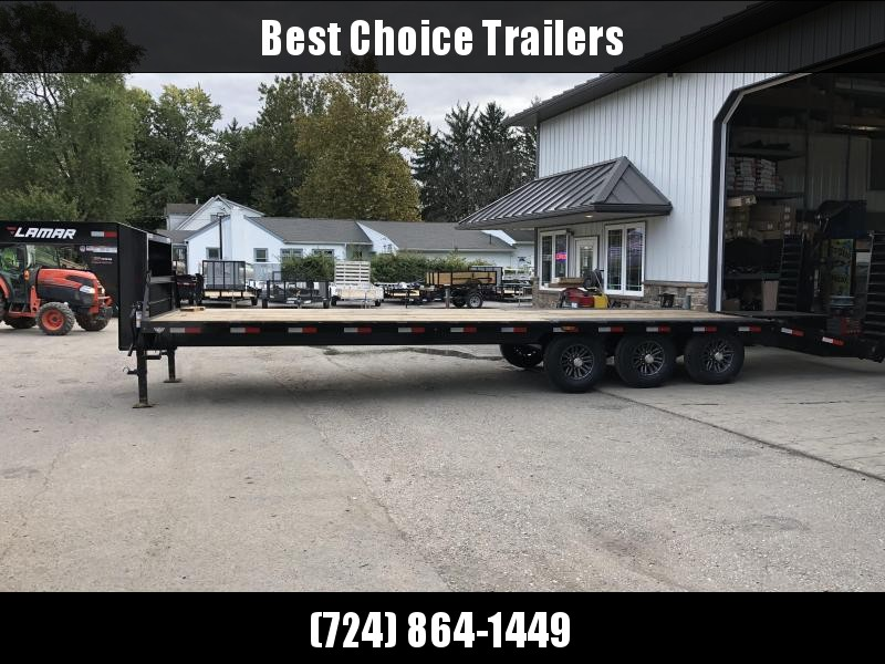 2018 Lamar 102x25+5' Gooseneck Beavertail Deckover Trailer 21000# * 2 FLIPOVER RAMPS + POP UP DOVE * CHARCOAL * CLEARANCE - FREE ALUMINUM WHEELS