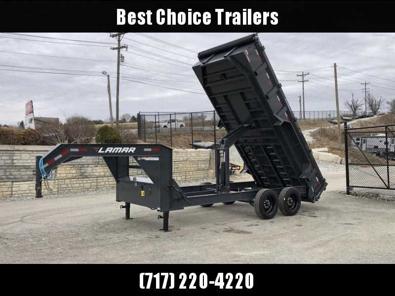 "2019 Lamar 7x16' Gooseneck Dump Trailer 16000# GVW * 8000# AXLE UPGRADE * 17.5"" RUBBER & SPARE * 7 GAUGE FLOOR * HD SCISSOR * TARP KIT * DUAL JACKS * I-BEAM FRAME * CHARCOAL * REAR JACK STANDS"