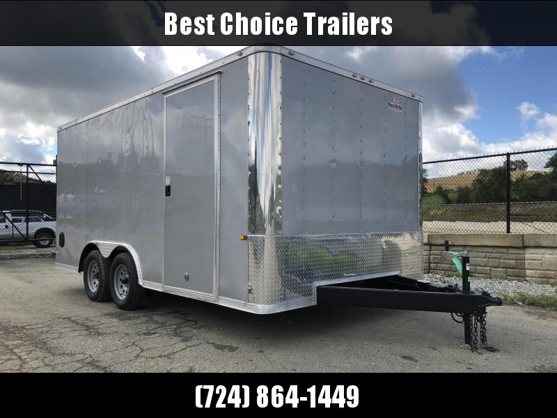 2019 Rock Solid 8.5x16' Enclosed Car Trailer 7000# GVW * SILVER