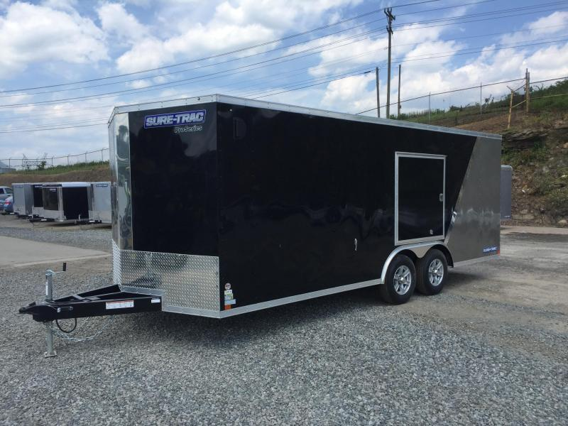 2017 Sure-Trac 8.5x24' 9900# STWCH Commercial Enclosed Cargo Trailer ROUND TOP RAMP DOOR BLACK/PEWTER ALUMINUM WHEELS TORSION ESCAPE HATCH FINISHED FLOOR AND WALLS 2-TONE