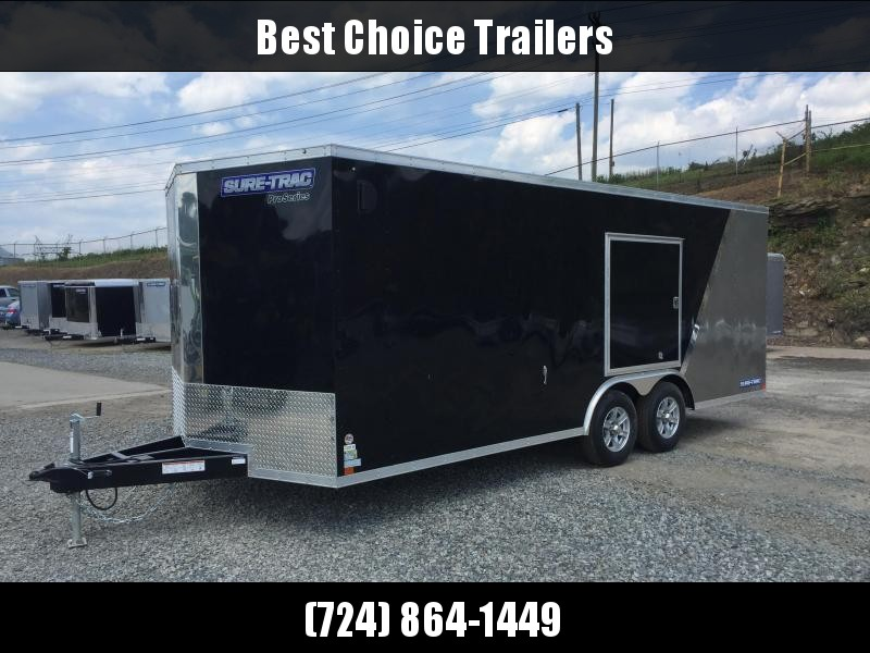 2017 Sure-Trac 8.5x24' 9900# STWCH Commercial Enclosed Cargo Trailer RAMP DOOR BLACK/PEWTER ALUMINUM WHEELS TORSION ESCAPE HATCH FINISHED FLOOR AND WALLS 2-TONE * CLEARANCE PRICING + FREE ALUMINUM SPARE