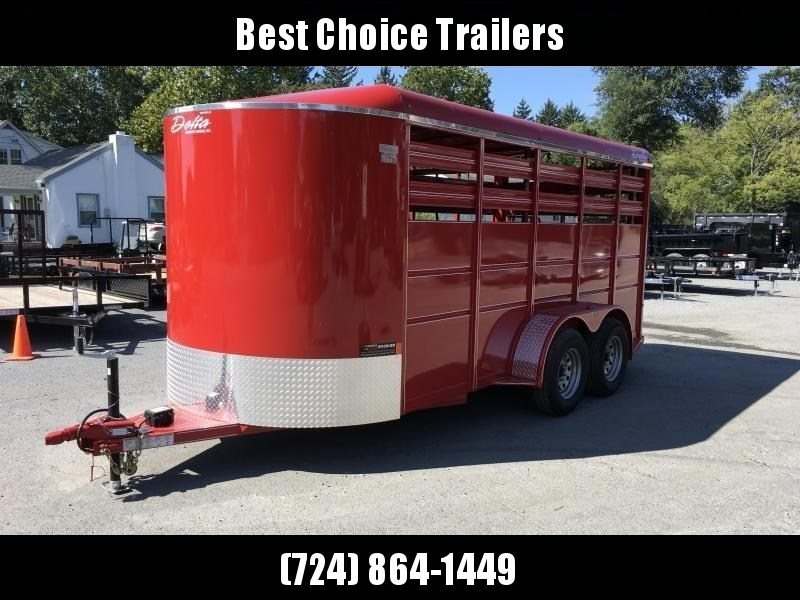 2019 Delta 16' 500ES Livestock Trailer 7000# GVW * RED * CENTER GATE * DEXTER'S