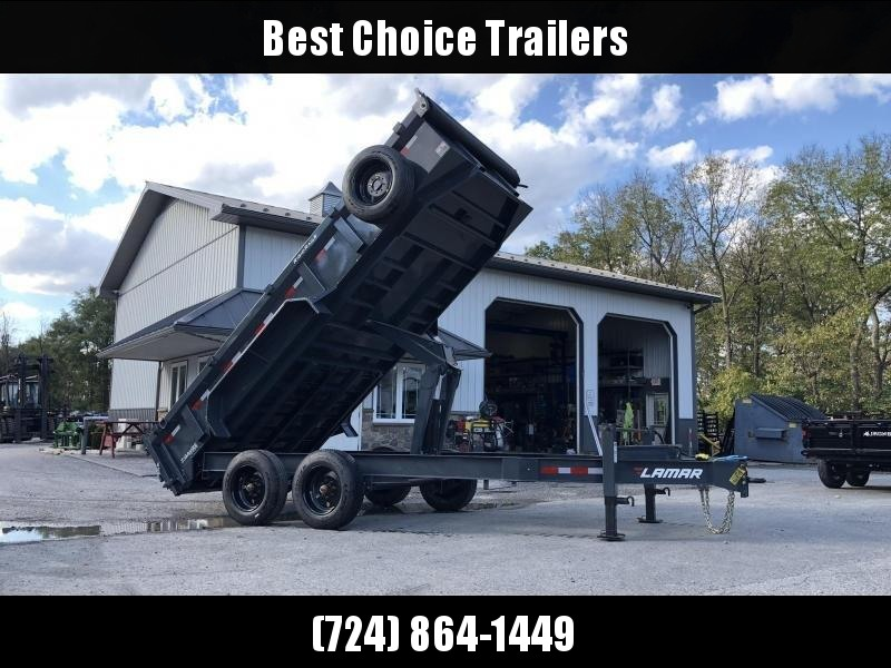 "2019 Lamar 7x16' Dump Trailer 16000# GVW * 8K AXLE UPGRADE * TARP * RAMPS * DUAL 12K JACKS * 17.5"" RUBBER * SPARE * REAR SUPPORT STANDS * OIL BATH * CHARCOAL * CLEARANCE"