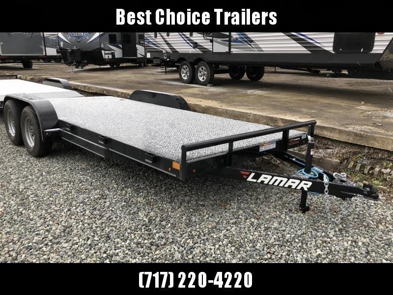 2019 Lamar 7x18' Steel Deck Car Trailer 7000# GVW * 11GA STEEL DECK * CHARCOAL * ADJUSTABLE COUPLER * 7K DROP LEG JACK * 4 D-RINGS * EXTRA STAKE POCKETS * REMOVABLE FENDERS
