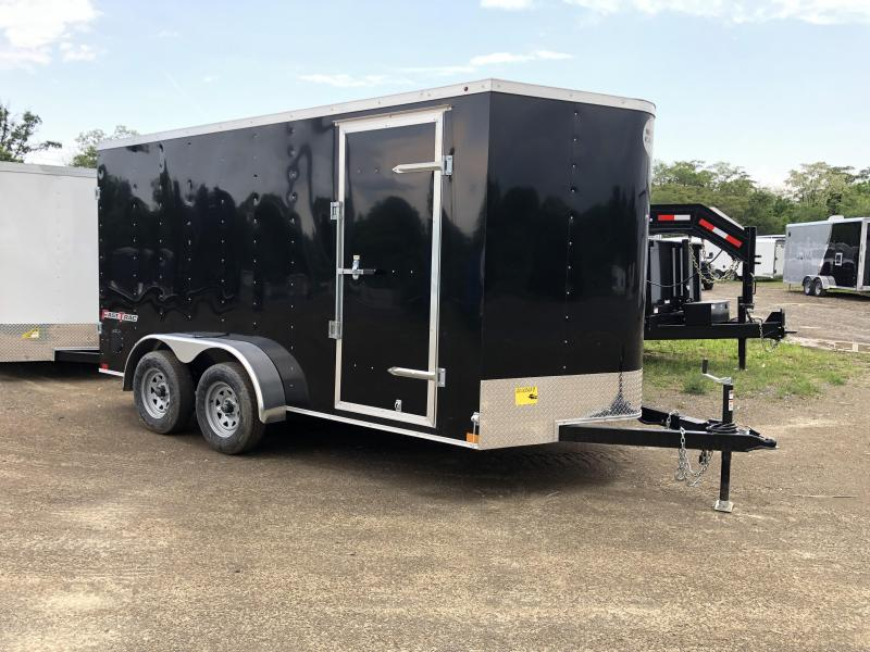 2019 Wells Cargo 7x14' Fastrac DELUXE Enclosed Cargo Trailer 7000# GVW * BLACK * BARN DOORS * V-NOSE