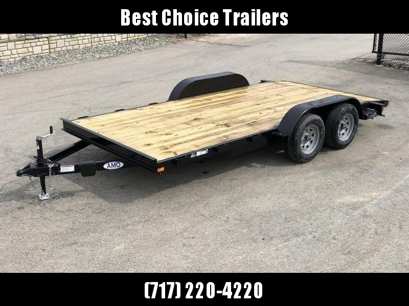 2019 AMO 7x16' Wood Deck Car Trailer 7000# GVW * LED TAIL LIGHTS