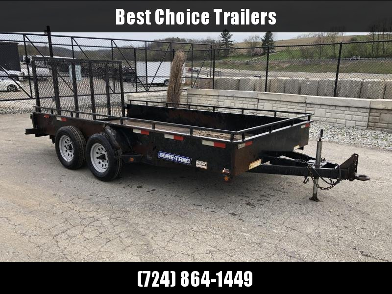 USED 2015 Sure Trac 7x14' Steel High Side Utility Landscape Trailer 7000# * ADJUSTABLE COUPLER