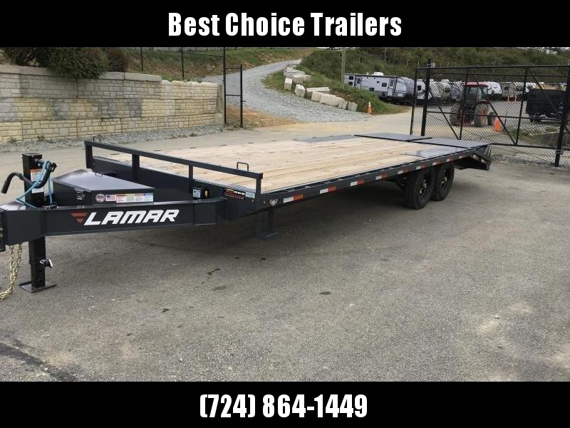 "2019 Lamar F8 102x24' Beavertail Deckover Trailer 14000# GVW * FULL WIDTH RAMPS * CHARCOAL * 16"" O.C. FLOOR * CHAIN TRAY * OIL BATH"