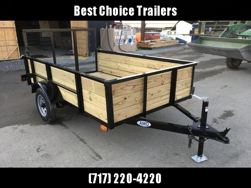 2019 AMO 5x8' Wood High Side Angle Iron Utility Landscape Trailer 2200# GVW