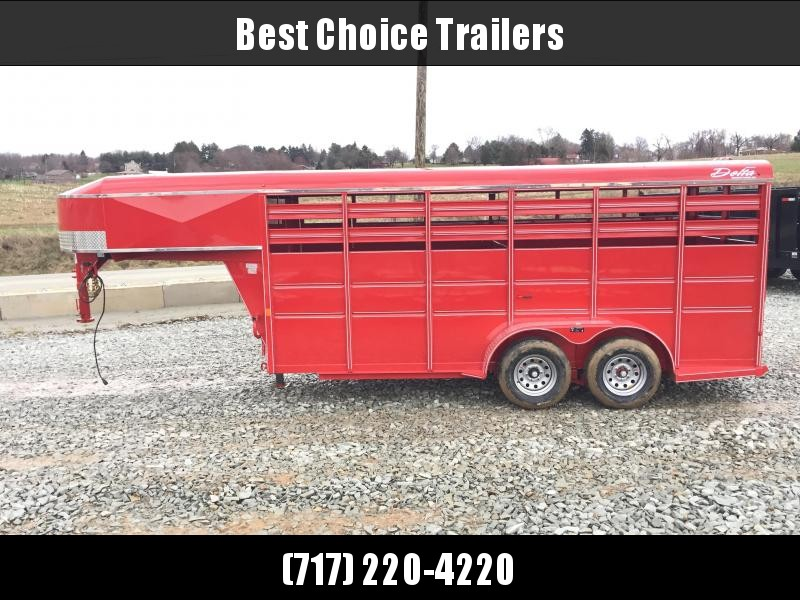 2018 Delta Gooseneck 500 ES 16' Livestock Trailer 7000# GVW * RED * CLEARANCE - FREE ALUMINUM WHEELS