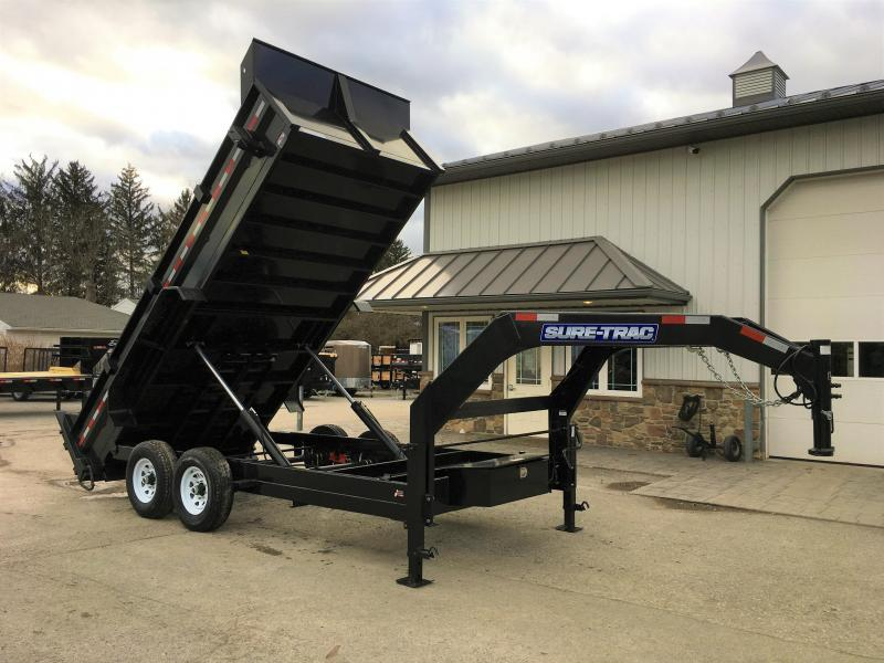 "2017 Sure-Trac 82""x16' Gooseneck Heavy Duty Low Profile Dump Trailer 14000# GVW"