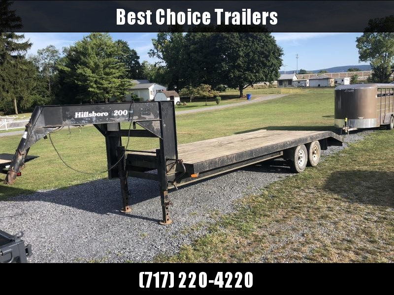 USED Hillsboro 102x20+5' Gooseneck Beavertail Flatbed Deckover 14250# GVW * POP UP DOVETAIL * HD DUAL JACKS - 2 SPEED