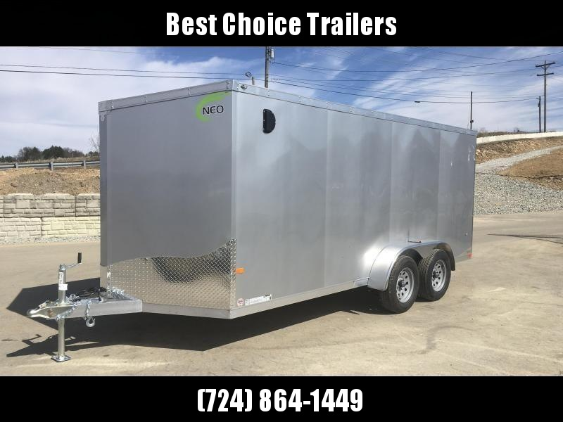 2019 Neo 7x14 NAVF Aluminum Enclosed Cargo Trailer * RAMP DOOR * SILVER * ALUMINUM WHEELS