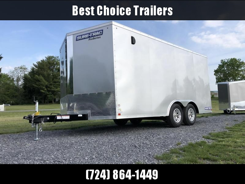 2019 Sure-Trac 8.5x16' Enclosed Cargo Trailer 7000# GVW * SILVER