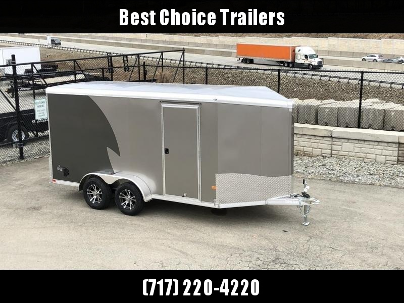 """2019 NEO Trailers 7X14' NAMR Aluminum Enclosed Motorcycle Trailer * CHARCOAL & PEWTER * VINYL WALLS * ALUMINUM WHEELS * +6"""" HEIGHT"""