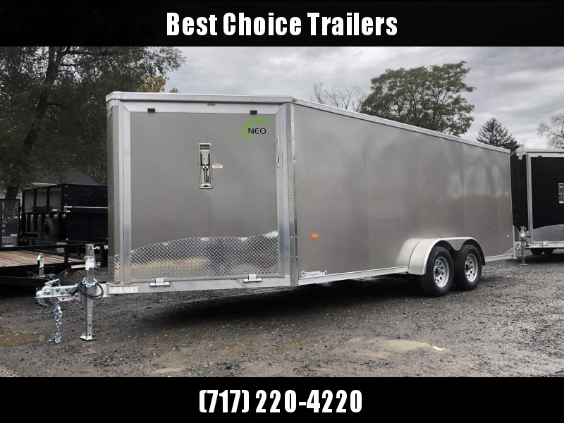 "2019 Neo 7x22' Aluminum Enclosed Snowmobile All-Sport Trailer * 3-SLED * PEWTER * FRONT RAMP * NXP LATCHES * FLOOR TIE DOWN SYSTEM * REAR JACKSTANDS * UPGRADED 16"" OC FLOOR * UPPER CABINET"