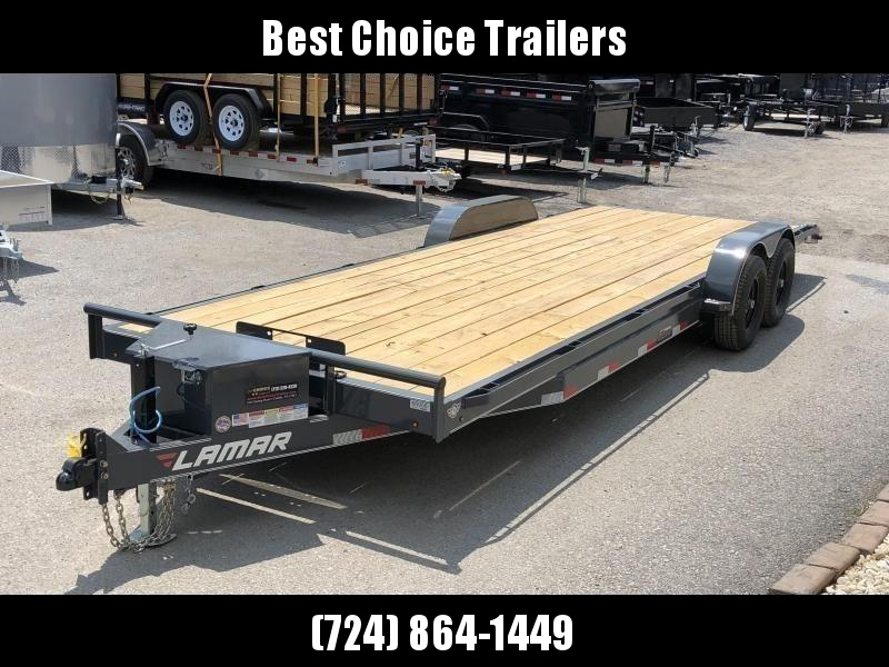 2020 Lamar 7X22' CC10 Car Trailer 9990# GVW RUBRAIL * REMOVABLE FENDERS  * CHARCOAL POWDERCOATING * 7K DROP LEG JACK * ADJUSTABLE COUPLER * TOOLBOX * WINCH PLATE