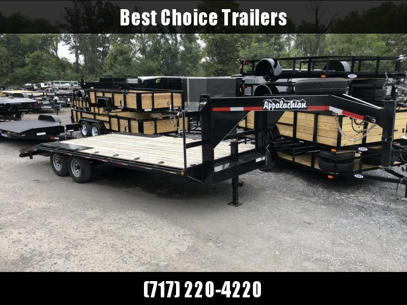 USED 2018 Appalachian 102x20' Gooseneck Flatbed Trailer * POP UP DOVETAIL * EXTRA TIE DOWNS * SPARE TIRE