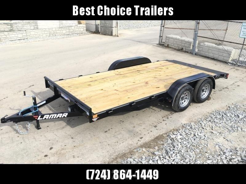 2018 Lamar 7x18 7000# Wood Deck Car Hauler Trailer * REMOVABLE FENDERS * EXTRA STAKE POCKETS