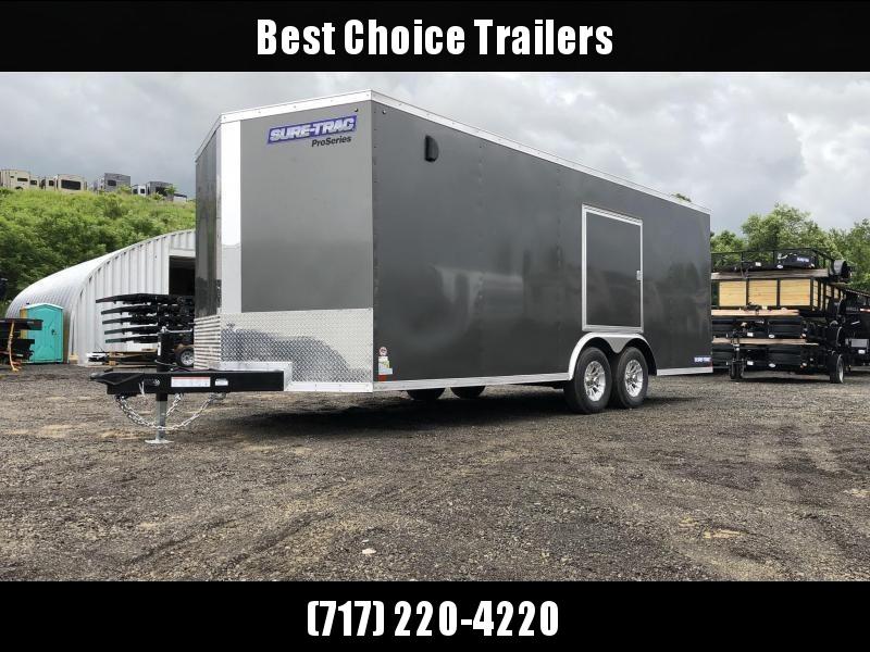 """2019 Sure-Trac 8.5x24' Enclosed Car Trailer 9900# GVW * DELUXE * SILVER * 7K JACK * ESCAPE HATCH * FINISHED WALLS * NUDO FLOOR & RAMP * TORSION * 48"""" DOOR & MORE"""