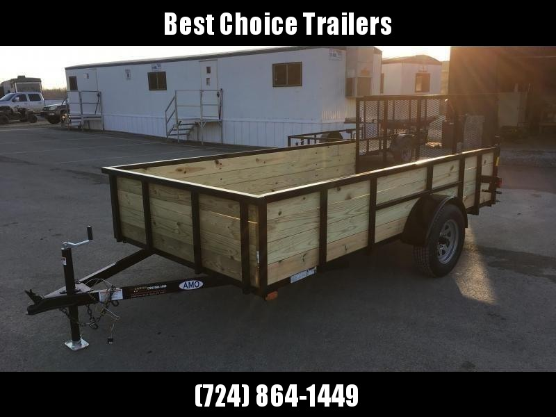 "2019 AMO 78""x12' Wood HIGH SIDE Angle Iron Utility Landscape Trailer 2990# GVW * 4-BOARD HIGH SIDE"