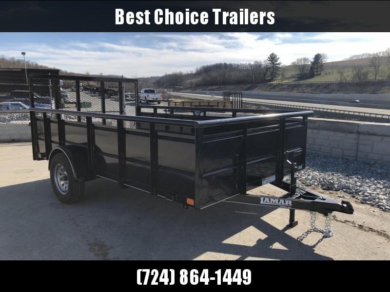 "2018 Lamar 77""x12' Steel High Side Utility Trailer 2990# GVW * PIPE TOP * 2' SOLID SIDES * DROP LEG JACK * CAST COUPLER * CHARCOAL * TUBE GATE * CLEARANCE"
