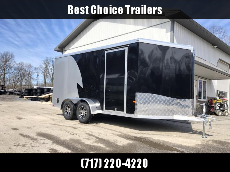 "2019 Neo 7x14 NAMR Aluminum Enclosed Motorcycle Trailer * VINYL WALLS * ALUMINUM WHEELS * +6"" HEIGHT * NUDO FLOOR & RAMP * BLACK & SILVER"