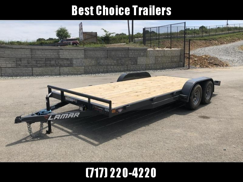 2019 Lamar 7x18 7000# Wood Deck Car Hauler Trailer * REMOVABLE FENDERS * EXTRA STAKE POCKETS * CHARCOAL