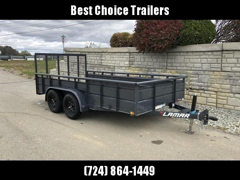 2019 Lamar 7x14' Utility Trailer 7000# GVW * 2' STEEL HIGH SIDES *  TUBE TOP * ADJUSTABLE COUPLER * DROP LEG JACK * TIE DOWN RAIL * CHARCOAL