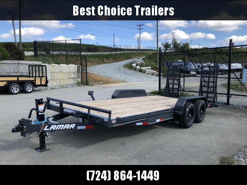 2018 Lamar 7x18' CC10 Equipment Trailer 9990# GVW - CHARCOAL * DELUXE RAMPS * 12K DROPLEG JACK * CLEARANCE - FREE ALUMNIUM WHEELS
