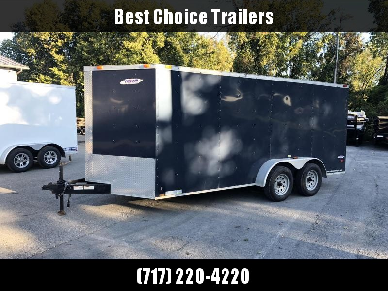 "USED 2012 Freedom 7x16' Enclosed Cargo Trailer 7000# GVW * PLYWOOD FLOOR AND WALLS * 16"" O.C. * TUBE STUDS * E-TRACK"
