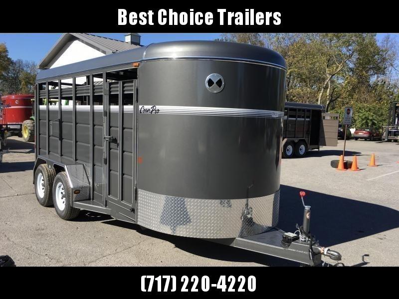 2018 Corn Pro 16' Livestock Trailer 7000# GVW * GREY * CLEARANCE - FREE ALUMINUM WHEELS