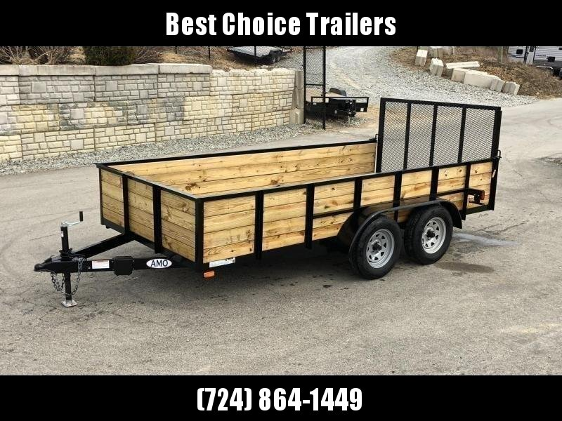 "2019 AMO 76""x14' Wood High Side Angle Iron Utility Landscape Trailer 7000# GVW * LED TAIL LIGHTS"