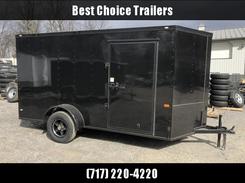 2019 Rock Solid 6x12' Enclosed Cargo Trailer 2990# GVW * RS612SA * BLACKOUT PACKAGE * BLACKOUT ALUMINUM WHEELS * ATP FENDERS * V-NOSE * RAMP DOOR