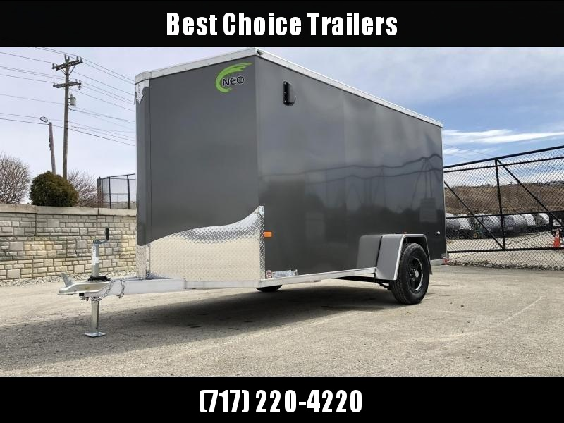 2019 Neo 6x12 NAVF Aluminum Enclosed Cargo Trailer * RAMP DOOR * CHARCOAL * ALUMINUM WHEELS