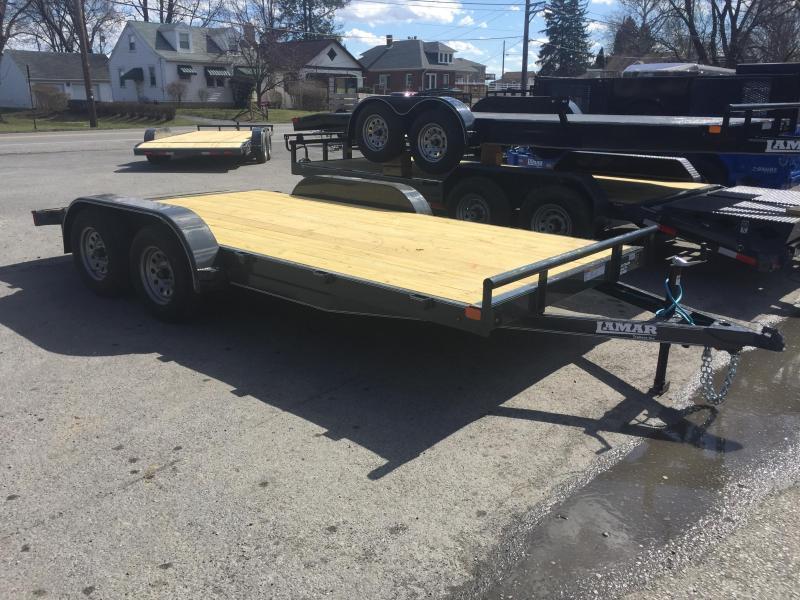 2018 Lamar 7x18 Wood Deck Car Trailer 7000# GVW CHARCOAL POWDER COAT