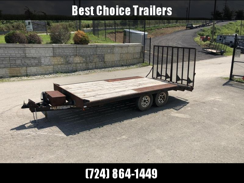 USED Cam Superline 16' Beavertail Flatbed Deckover Trailer 7000# GVW * SPLIT GATE * HD COUPLER * 7000# DROP LEG JACK