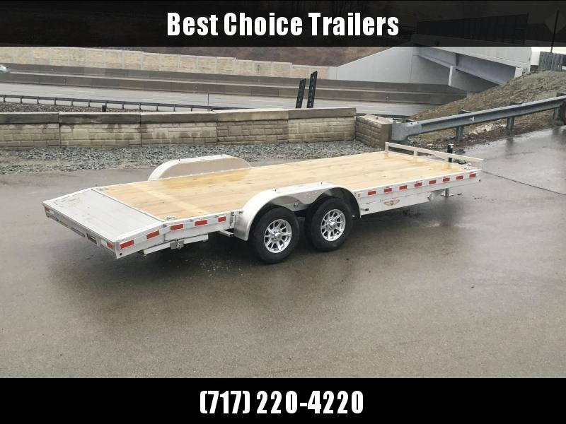 2018 H&H 7x18' Aluminum Car Hauler 7000# GVW ALUMINUM WHEELS HEAVY FRAME * SPARE MOUNT * EXTRUDED BEAVERTAIL * CLEARANCE + FREE SPARE TIRE