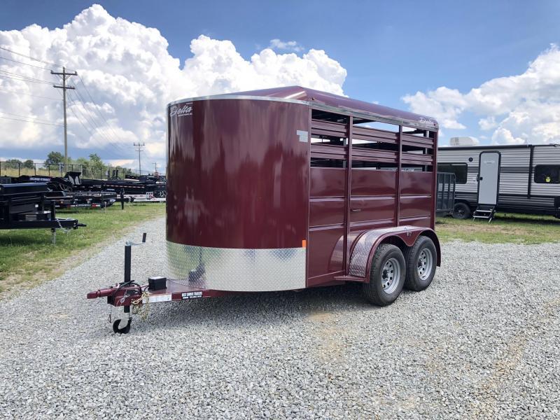 2019 Delta Manufacturing 12' Livestock Trailer * BURGUNDY * CENTER DIVIDER * DEXTER'S