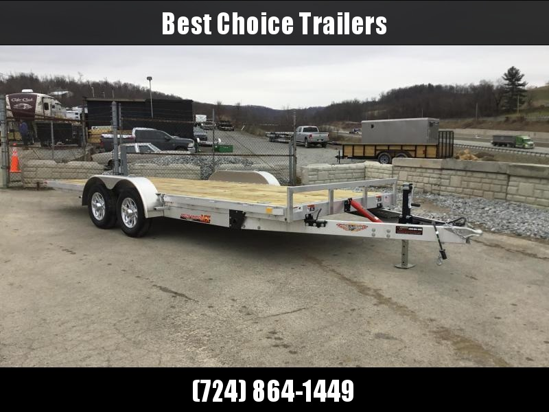 2018 H&H 7x20' Aluminum Manual Tilt Car Trailer 7000# GVW * TOOLBOX * SPARE MT * CLEARANCE