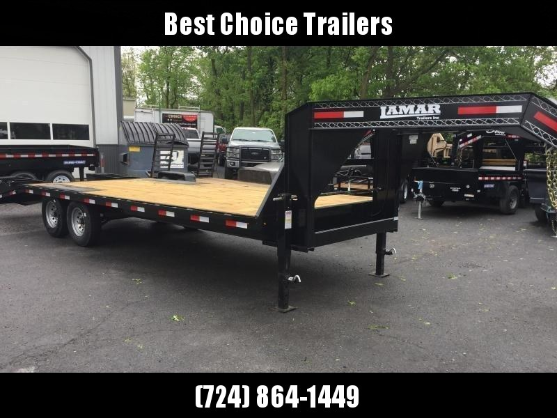2018 Lamar 102x19+5' Gooseneck Beavertail Deckover Trailer 14000# GVW * CHARCOAL POWDERCOAT * FLIPOVER RAMPS * CLEARANCE - FREE ALUMINUM WHEELS